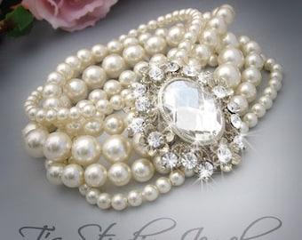 Wedding Pearl Bridal Bracelet Multi 5 Strand Cuff Rhinestone Brooch Ivory or White Pearl Jewelry - AUDREY