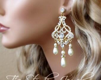 Gold Earrings Pearl Bridal Chandelier Earings Wedding Jewelry