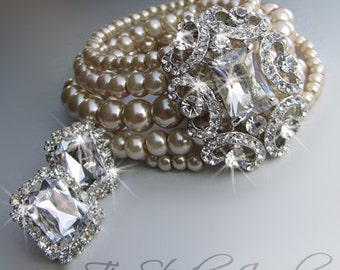Multi Strand Pearl Cuff Bridal Bracelet Haute Couture Bride Wedding Jewelry - ANITA