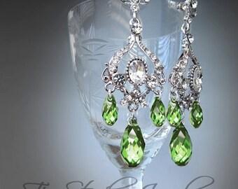 Peridot Green Chandelier Earrings