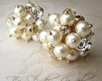 Pearl Cluster Bridal Earrings - Gold and Ivory Wedding Jewelry - KARA