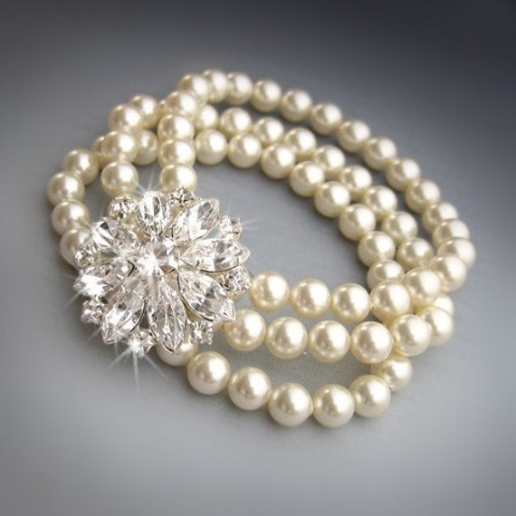 JULIET- Multi Strand Swarovski Pearl Cuff Bridal Bracelet