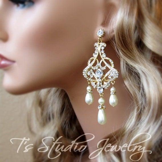 Earrings Pearl Bridal Chandelier Earings Wedding Jewelry – Pearl Chandelier Bridal Earrings
