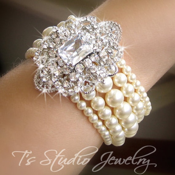 Pearl Bridal Bracelet, Multi Strand Cuff with Rhinestone Brooch, Wedding Jewelry - CAMILLE