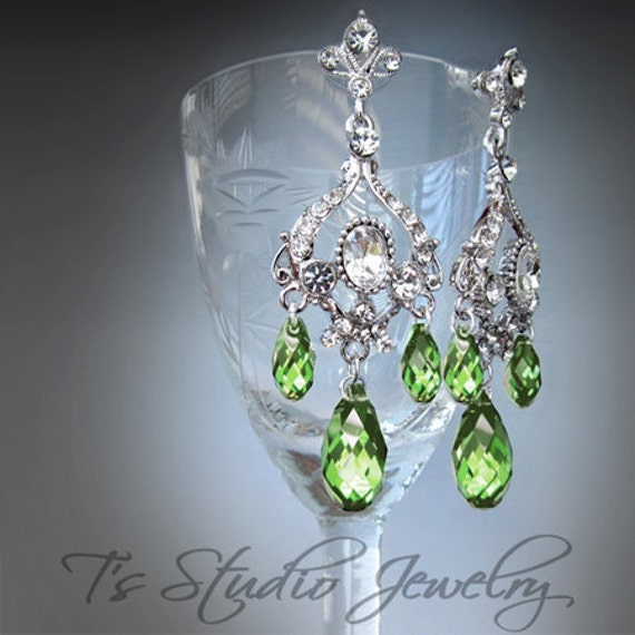 Peridot Green Chandelier Earrings