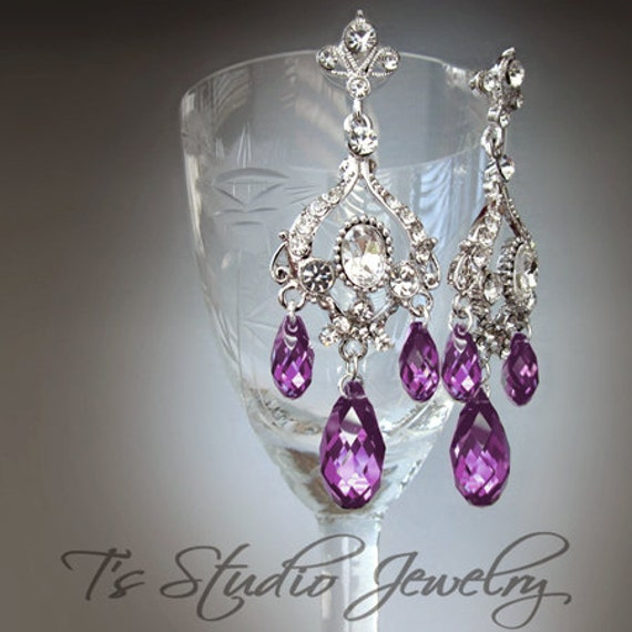 Amethyst purple chandelier earrings like this item mozeypictures Image collections