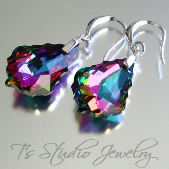 Peacock Wedding Bridesmaid Earrings - Navy Blue Purple Fuchsia Teal Green - other colors available