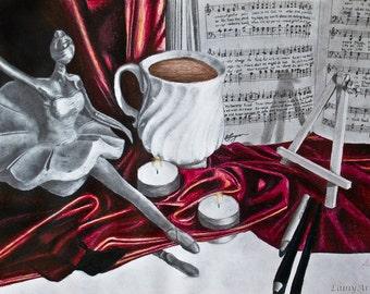 Favorite Things 9x12 Original Art Giclee Print - Still life, love of music dance and art