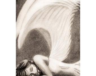 Resting Angel - Matted 8x12 Watercolor Print  - Charcoal Drawing, Original Artwork, angel wings, fantasy  - Day 35 Print