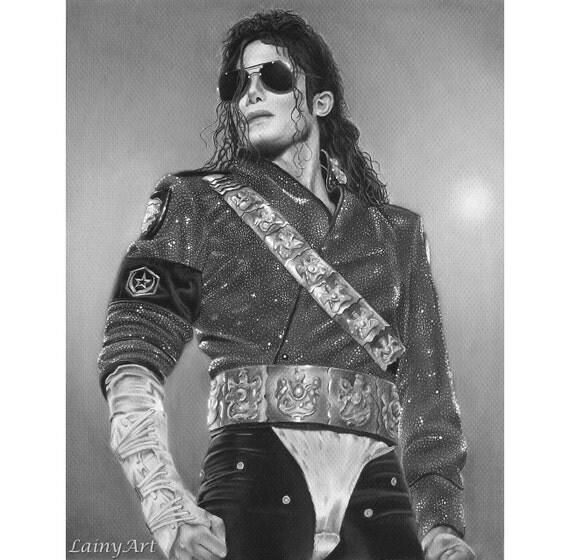 Michael jackson legend dessin au fusain tendu toile imprimer - Dessin de michael jackson ...