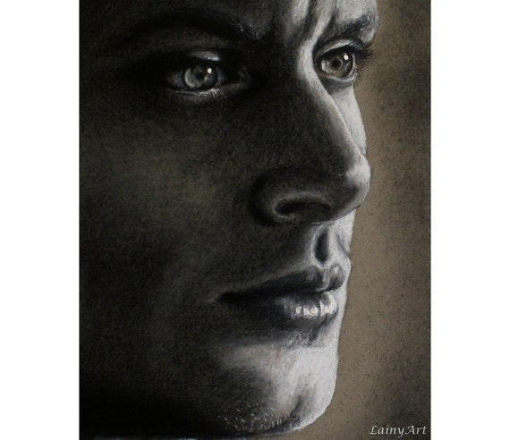 Dean Winchester - Jensen Ackles - Matted 8x10 Watercolor Giclee Print - Supernatural - Realistic charcoal drawing, celebrity portrait