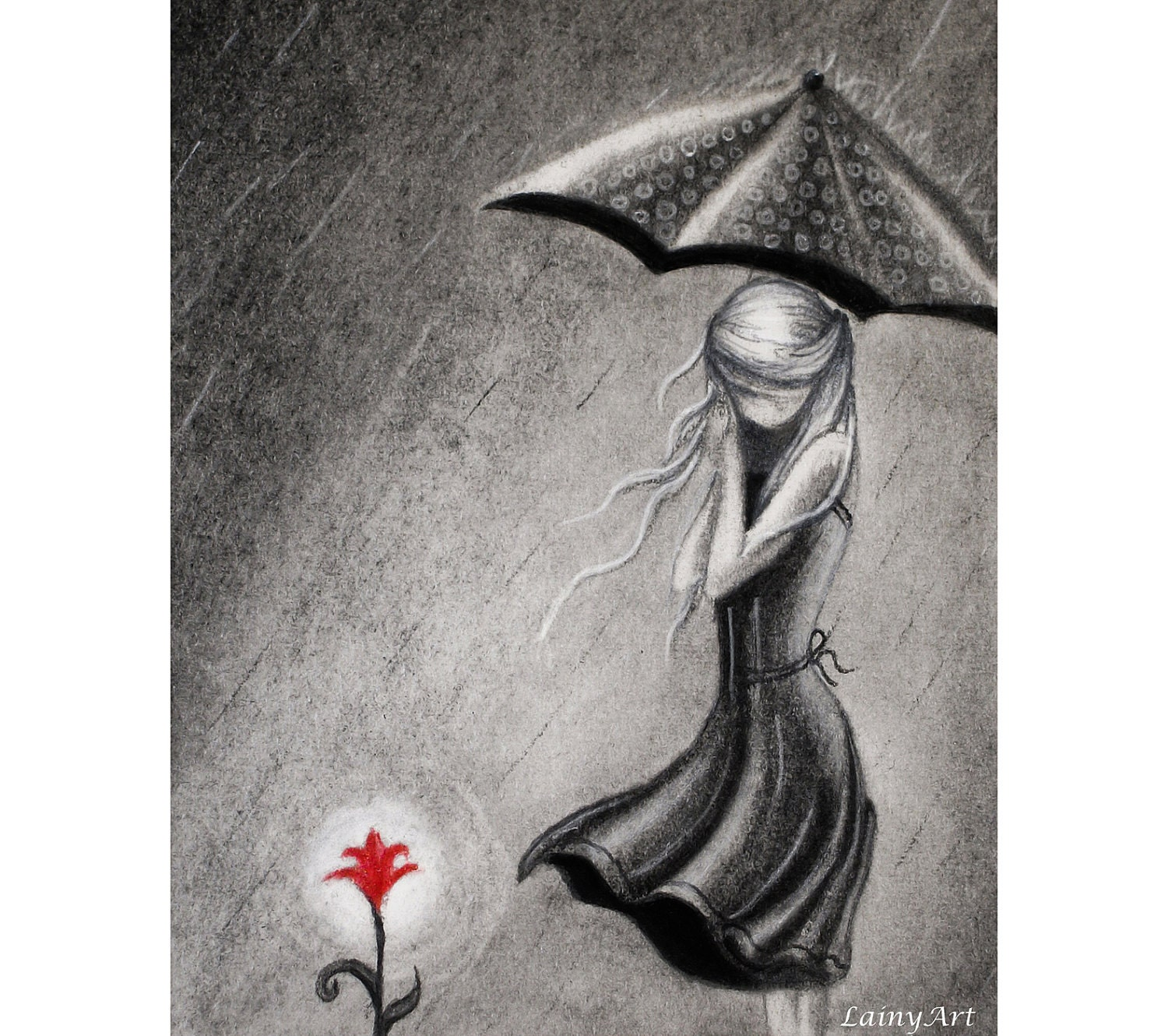 Umbrella Lady And Her Flower 8x10 Watercolor Print