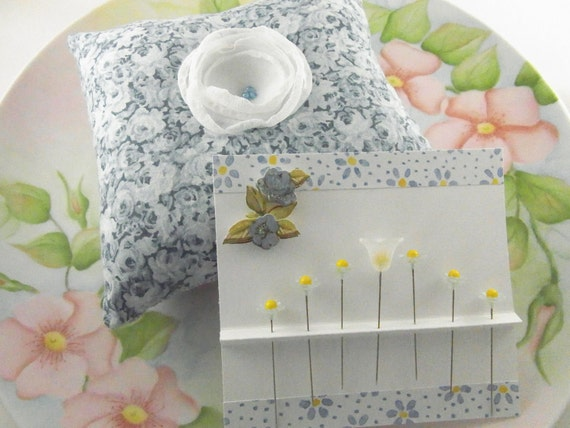 SALE Pincushion Gift Set Blue Floral Pincushion with Button Blossom Decorated Pins