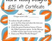 Gift Certificate - RESERVED for Modern Typography Giveaway winner
