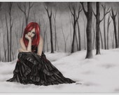 Frozen Hearts Love Art Print Glossy Fantasy Emo Goth Girl Zindy Nielsen