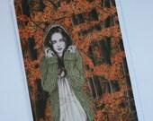 Autumn Walk Fall Leaves Goth Girl Greeting Card