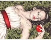 Snow White Sleeping Beauty Ivy Fairytale Fantasy Apple Art Print Emo Goth Girl Zindy Nielsen