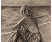 One Art Print Glossy Emo Traditional Girl at Beach Ocean Zindy Nielsen