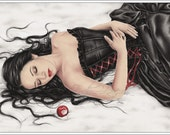 Snow White Fall Apple Sleeping Beauty Winter Art Print Fairytale Emo Goth Girl Zindy Nielsen