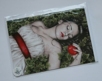 Snow White Apple Ivy Emo Goth Girl Ribbon Greeting Card