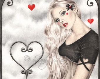 A dream of love Valentine Heart Ribbon Corset Art Print Emo Goth Girl Woman Zindy Nielsen