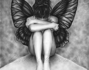 Sad Butterfly Girl Angel Fae Wings Art Print Emo Goth Fantasy Girl Woman Zindy Nielsen