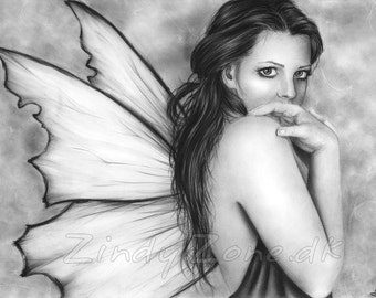 Fairy Butterfly Fae Wings Girl Woman Innocent Fantasy Fairytale Magic Art Print Zindy Nielsen