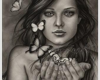 Unleash the butterflies Butterfly Girl Art Key Necklace Print Glossy Zindy Nielsen
