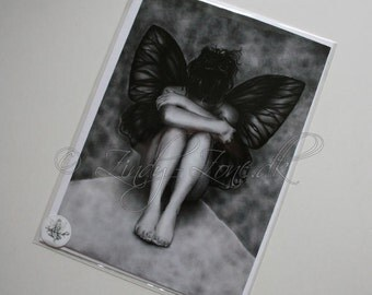 Sad Butterfly Girl Fairy Emo Goth Wings Greeting Card