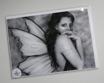Fairy Fae Girl Goth Butterfly Wings Greeting Card
