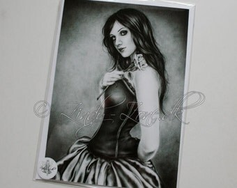 Girl with the rose Emo Goth Greeting Card