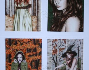Postcard Pack Autumn Leaves Pumpkin Halloween Fall Girl Goth Emo Witch