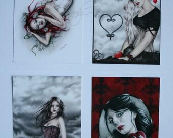 Postcard Pack Valentine Love Heart Girl Goth Emo Corset
