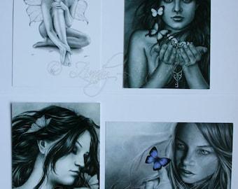 Postcard Pack Fairy Fae Butterfly Butterflies Girl Key Goth Emo Wings