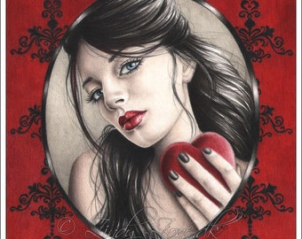 With Love Damask Heart Art Print Glossy Fantasy Emo Goth Girl Zindy Nielsen