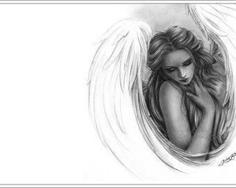 With you now Angel Art Print Glossy Emo Girl Fantasy Zindy Nielsen