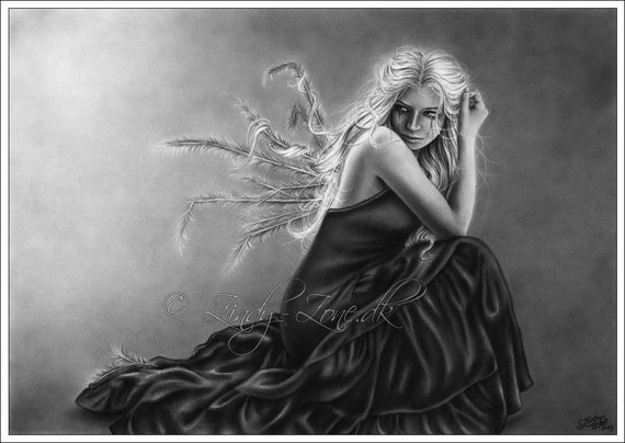 What is left of me Angel Wings Art Print Emo Goth Girl Zindy Nielsen