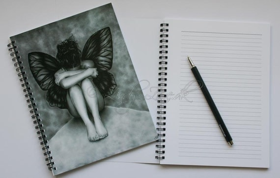 Sad Butterfly Girl Emo Goth Angel Art Print Notebook Zindy Nielsen