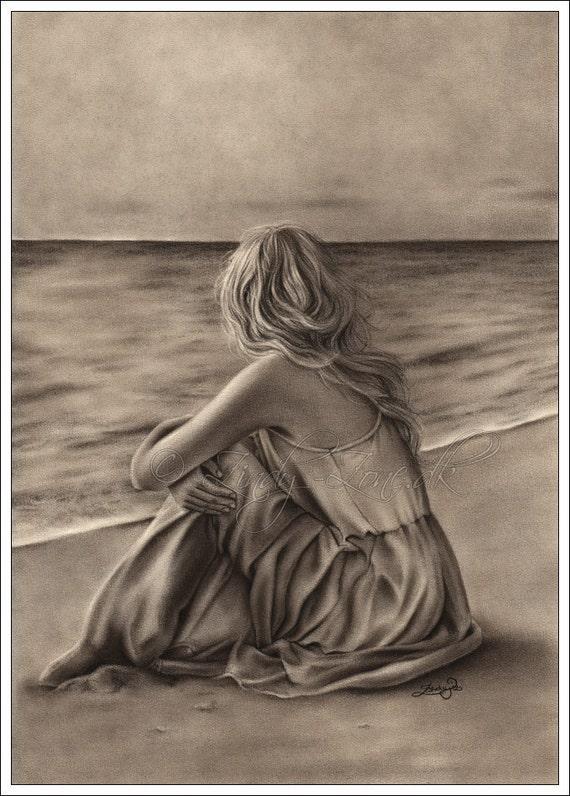 One Art Print Glossy Emo Traditional Girl at Beach Ocean Zindy Nielsen