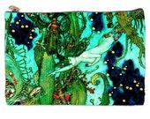 Mermaid In The Blue Cosmetic Bag, memaid, blue mermaids, turquoise makeup bag, fantasy, large cosmetic bag