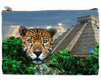 Leopard makeup bag, yucatan ruins pouch,  pyramid Chichen Itza cosmetic bag, large cosmetic pouch, New Age bag, Leopard print cosmetic bag