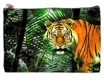 Tiger Cosmetic Bag,  Bengal Tiger Document pouch, Tiger makeup bag, Save Our wildlife bag, Jungle Tiger Cosmetic Makeup bag, Tiger Pouch