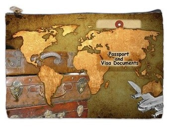 Visa and Passport Bag, the document bag, world map, vintage map, vintage luggage, vintage airplane,  travel case, VISA Bag, NirvanaRoad