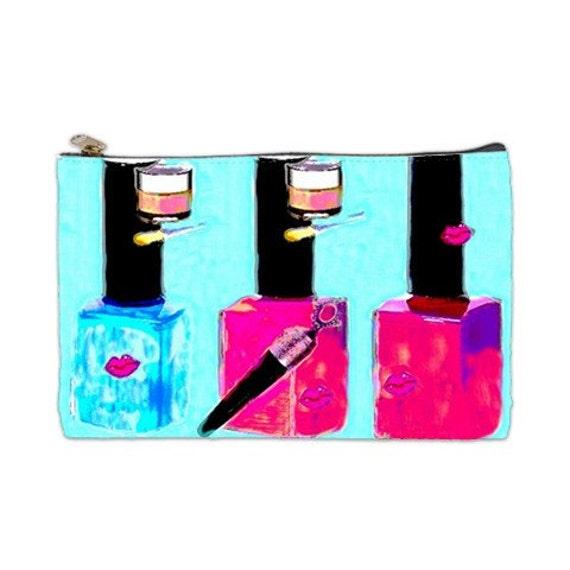 Paint Them Pretty, Cosmetic Bag, nail polish, lipstick,  bridesmaids gift,  blue nail polish, makeup tote, cosmetic bags
