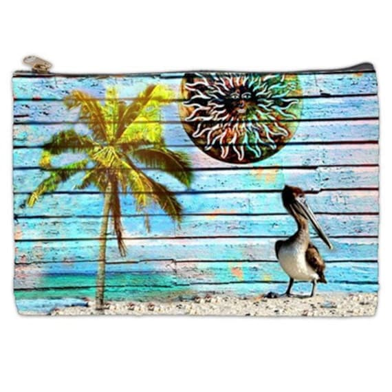 Brown Pelican Cosmetic Bag, Hanging Out For Summer makeup pouch, kindle case, Summer zipper pouch, Vapor pouch, Mexican Sun travel pouch