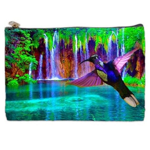 Hummingbird Cosmetic Bag, hummingbird bag, violet sabre, colorful hummingbird, makeup bag, cosmetic pouch, NirvanaRoad, blue, puple, green