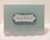 Stampin' Up Handmade Die Cut Happy Birthday Card with Baja Breeze