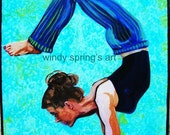 Yoga Strengh, Courage & Confidence 9x12 ORIGINAL PAINTING by Spring acrylic on canvas