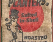 Antique Planters Roasted Peanuts Salted in Shell Burlap Bag 1 lb 8 oz Used