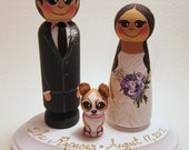 Wedding Cake Topper / Custom Painted Wood Peg Dolls / Couple Plus 1 small peg (perfect for children or pets) and Plaque